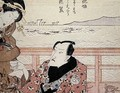 Detail of Onoe Kikugoro III taking tea at Shinagawa - Utagawa Kunisada