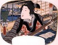 Winter Shinobazu Pond A geisha practicing a ballad design for a fan from a set of four illustrating the seasons 2 - Utagawa Kunisada