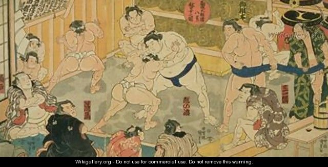 One of eight views of Kanjin Sumo - Utagawa Kunisada