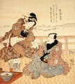 Onoe Kikugoro III taking tea at Shinagawa - Utagawa Kunisada