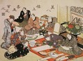 Painting and calligraphy party at the Manpachiro teahouse - Utagawa Kunisada