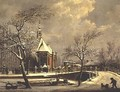 Dutch church beside a frozen canal - Cornelis de Krunt