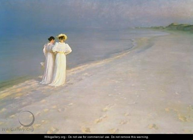 Summer Evening on the Skagen Southern Beach with Anna Ancher and Marie Kroyer - Peder Severin Kroyer