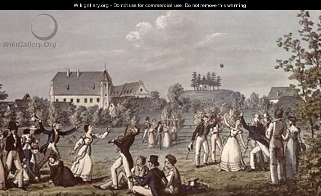 Ball Games at Atzenbrugg with Franz Schubert 1797-1828 and friends seated in the foreground - Leopold Kupelwieser