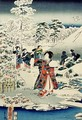 Maids in a snow covered garden - Utagawa (Toyokuni III) Kunisada
