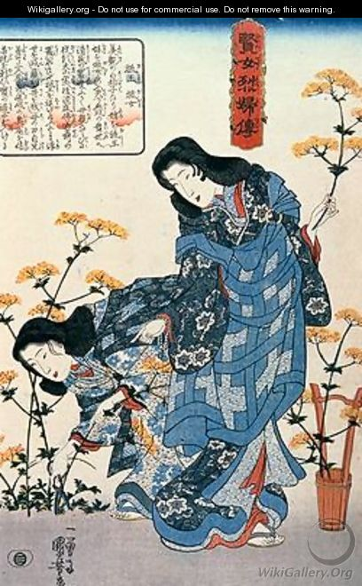 Gio and Giji Gathering Flowers - Utagawa Kuniyoshi