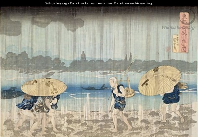 Shower on the Banks of the Sumida River at Ommaya Embankment in Edo - Utagawa Kuniyoshi