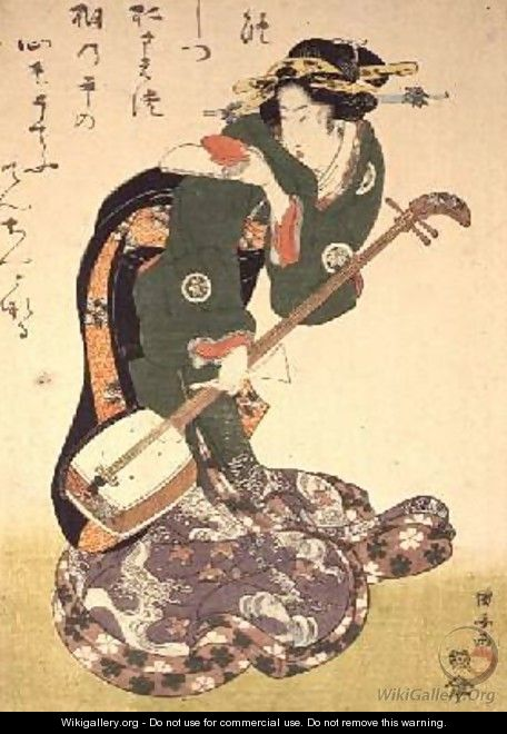 Courtesan with musical instrument - Utagawa Kuniyoshi