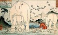 Twenty four paragons Tai Shun and the Elephants - Utagawa Kuniyoshi