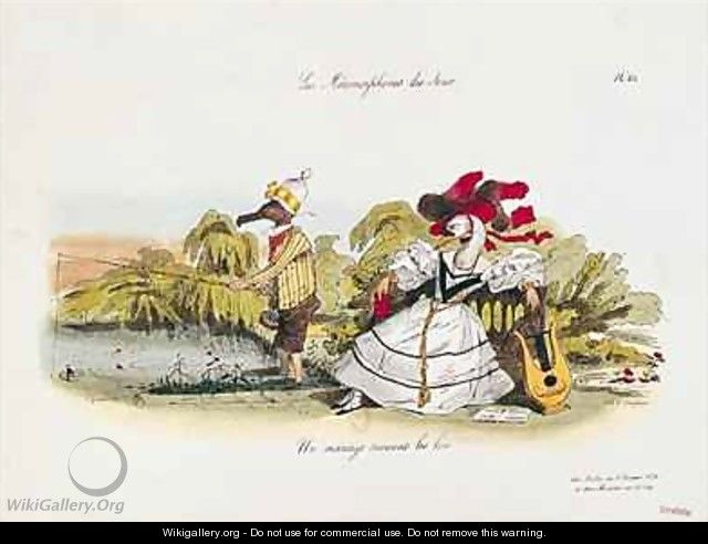 Marriage by the Book caricature from Les Metamorphoses du Jour - (Jean Ignace Isidore Gerard) Grandville