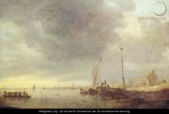 Landscape with River and Ferry - Jan van Goyen