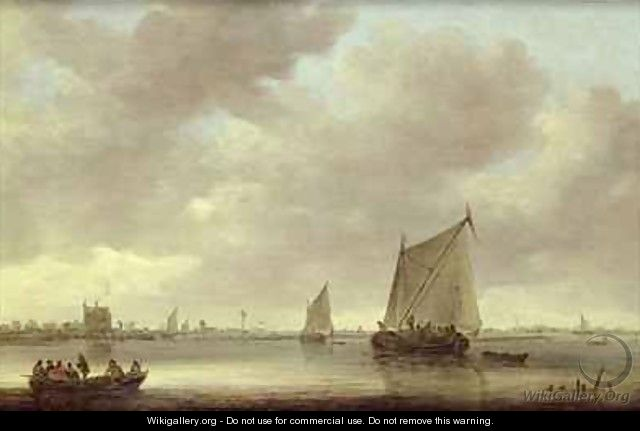 Shipping on the Kil with Oude Wachthuis and the Grote Kerk Dordrecht beyond - Jan van Goyen
