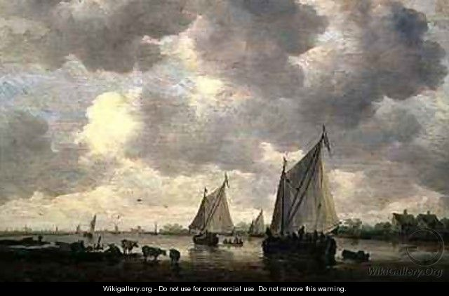 A Canal in Holland or Two Large Sailing Ships and Cattle Near a River - Jan van Goyen