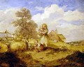 Children and Sheep Under a Tree - Alfred H. Green