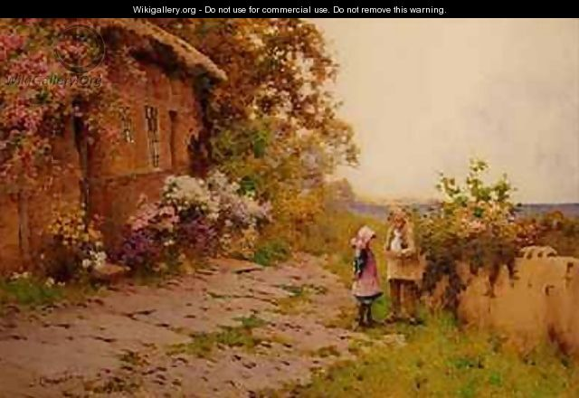 Two Children with a Rabbit Outside a Cottage by the Sea - J.A. Lynas Gray