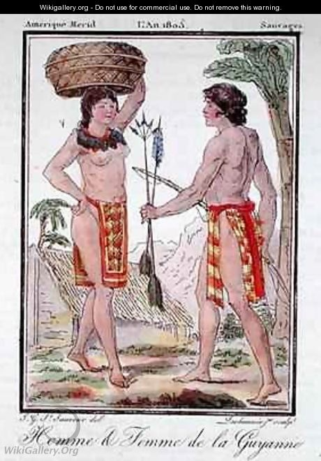 Indians from French Guyana - (after) Grasset de Saint-Sauveur, Jacques