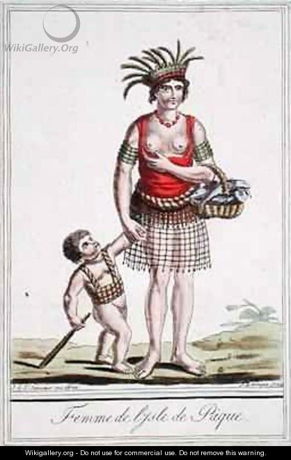 A Woman from Easter Island with her Child - (after) Grasset de Saint-Sauveur, Jacques