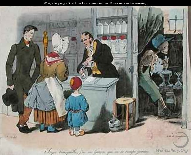 The Pharmacist and his Assistant - (Jean Ignace Isidore Gerard) Grandville