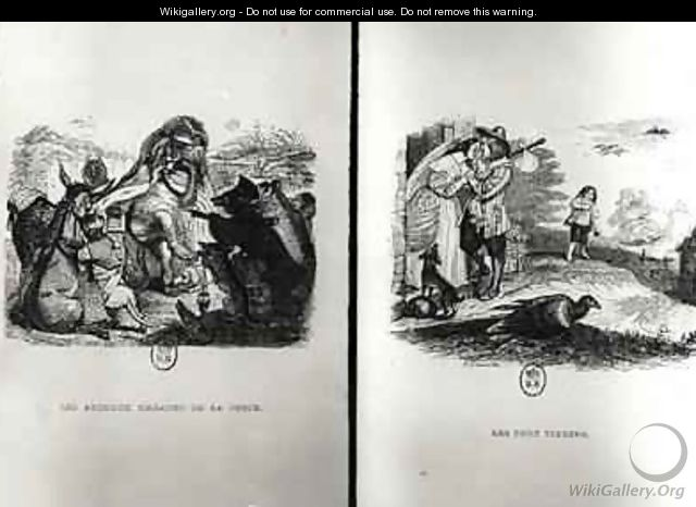 Animals with the Plague and The Two Pigeons - (Jean Ignace Isidore Gerard) Grandville