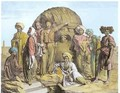 Monsieur Drovetti and his followers using a plumb line to measure a colossal head in the Egyptian desert - (after) Granger
