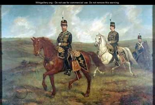 The Prince of Wales 1841-1910 with Lieutenant Colonel Valentine Baker 1827-87 reviewing the 10th Hussars Aldershot - Sir Francis Grant