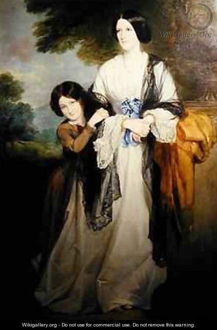 Juliana Countess of Leicester with her eldest child Lady Julia Coke - Sir Francis Grant