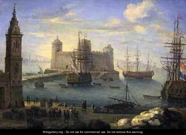 A Mediterranean port with men o war - Charles Laurent Grevenbroeck