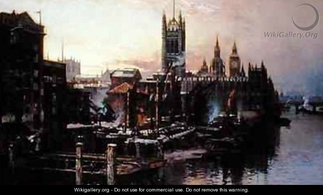 View of the Houses of Parliament from the River Thames London - Thomas Greenhalgh