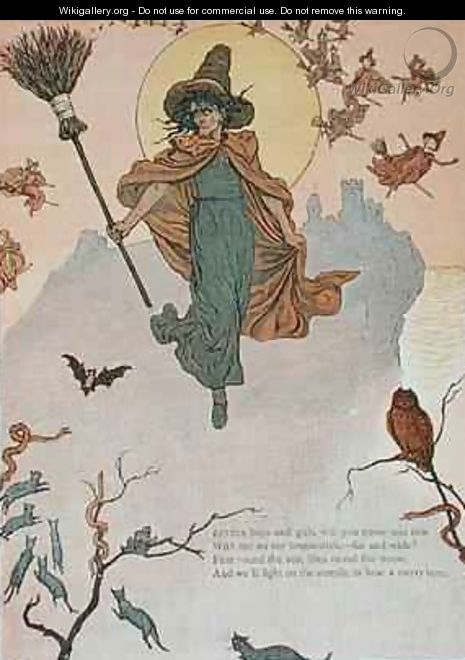 Little boys and girls will you come and ride with me on my broomstick - Kate Greenaway