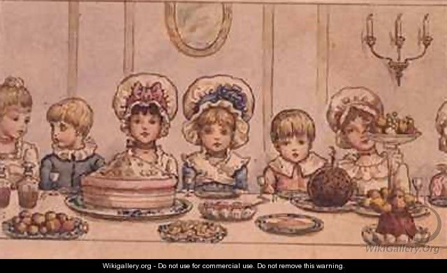 Supper from Christmas in Little Peopleton Manor in Illustrated London News Christmas - Kate Greenaway