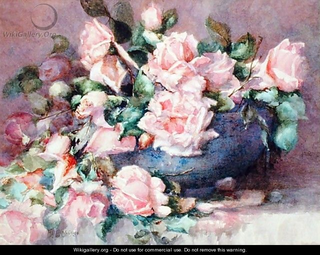 A Bowl of Pink Roses - Melicent Grose