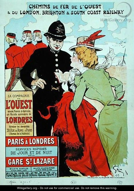 Poster advertising train services from Paris to London for the Compagnie des Chemins de Fer de lOuest - Jules Alexandre Grun