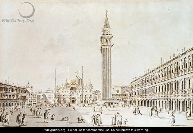 View of the Piazza San Marco looking towards the Basilica and Campanile - Giacomo Guardi