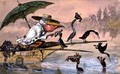 Cormorants presenting fish to a pelican in a punt under an umbrella from The Dream of the Fisherman - Ernest Henry Griset