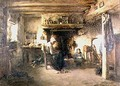 Interior of a peasant cottage - T. Grondard