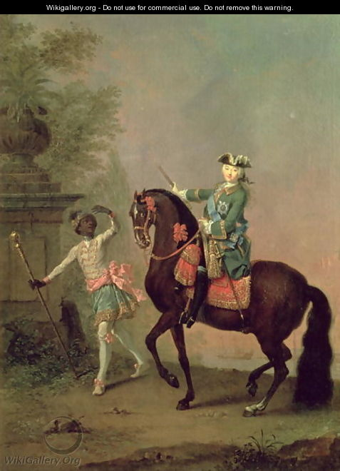 Portrait of Empress Elizabeth Petrovna 1709-62 on Horseback with a Negro Boy - Georg Christoph Grooth