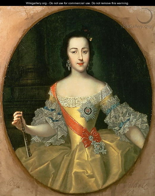 Portrait of Grand Duchess Yekatrina Alexeyevna later Catherine II - Georg Christoph Grooth