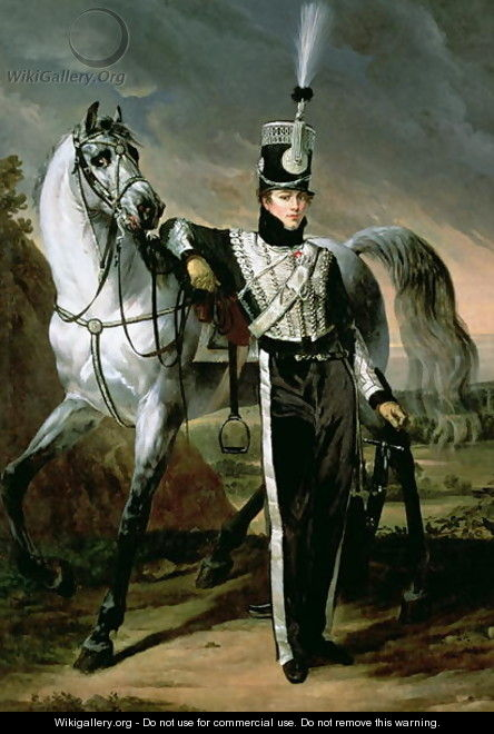 Portrait of Louis Eugene dEtchegoyen a Cavalry Officer - Antoine-Jean Gros