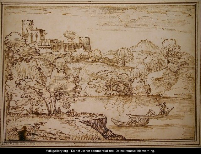 Classical landscape with boats on a lake below a castle - Giovanni Francesco Grimaldi