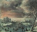 A winter landscape with figures on the ice - Jan the Elder Griffier