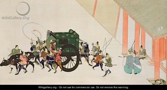 An Emperor Fleeing a Palace Disguised as a Woman in Carriage - (after) Gukei, Sumiyoshi Hirozumi
