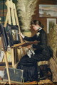 Portrait of Josephine Gillow painting at an easel - Guido Guidi