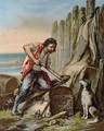 Robinson Crusoe Building his First Dwelling - E. Guillon
