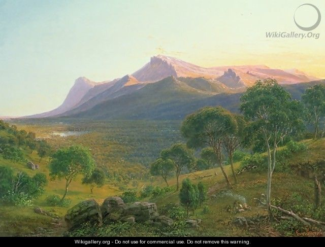 Aborigines by a Fire before Mount William as seen from Mount Dryden in the Grampians Victoria - Eugene von Guerard