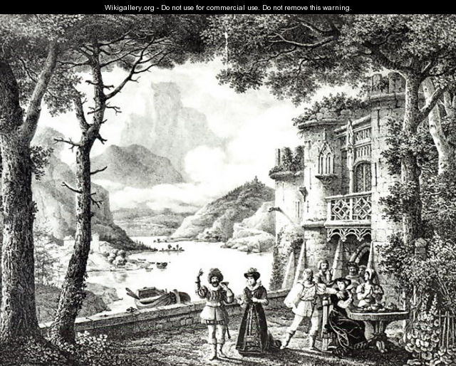 Stage set for Act III of Le Chateau de Loch Leven by Guilbert de Pixerecourt for a performance at the Theatre de la Gaite - Julien-Michel Gue