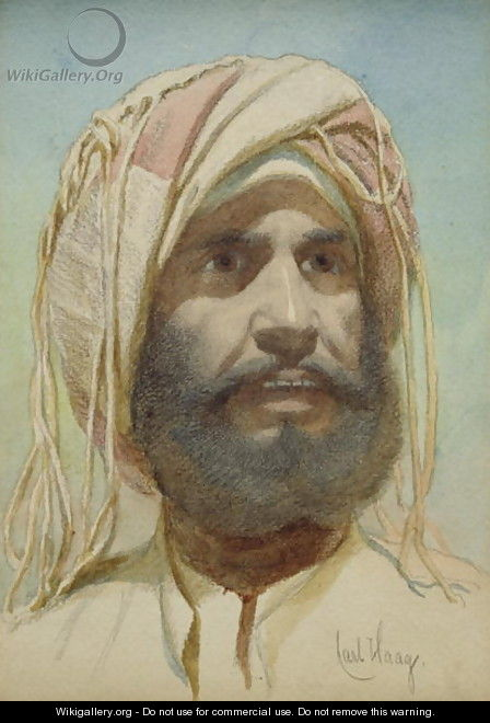 Portrait of a Bearded Tribesman - Carl Haag