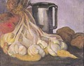 A Bunch of Garlic and a Pewter Tankard - Meyer Isaac de Haan