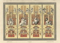Monkeys cats herons and dogs plate 3 from Fantaisies decoratives - (after) Habert-Dys, Jules-Auguste