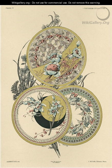 Flowers and flies plate 12 from Fantaisies decoratives - (after) Habert-Dys, Jules-Auguste
