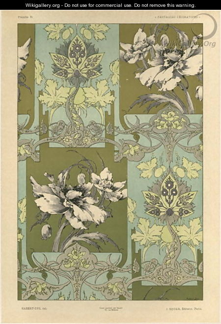 Flowers plate 25 from Fantaisies decoratives - (after) Habert-Dys, Jules-Auguste